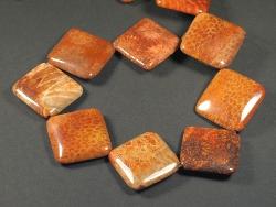 Fossile Koralle quadratisch m/Bohrung 2,5cm
