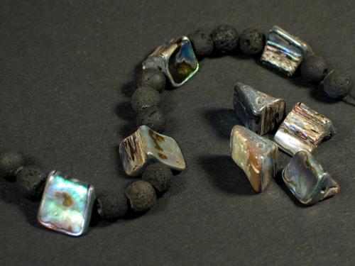 Paua-Dreiecksperle 0,4-1,5cm