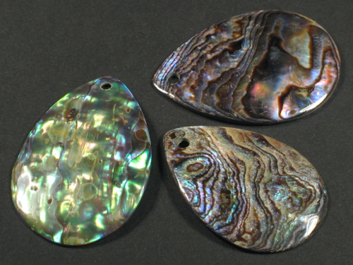 Paua-Tropfen-Scheiben ~4cm m/Bohrung
