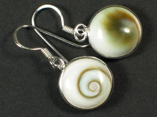 Operculum-Ohrhängerpaar rund mit Silber Ø1,2cm