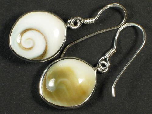Operculum-Ohrhängerpaar Augenform m/Silber 1,5cm