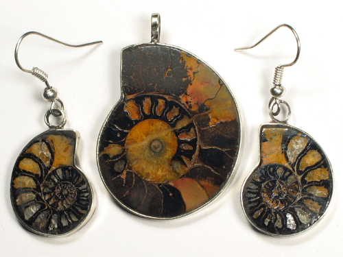 Ammoniten-Schmuckset aus Marokko 3,5/2,1cm