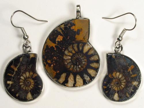 Ammoniten-Schmuckset aus Marokko 3,3/2,3cm