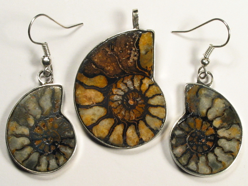 Ammoniten-Schmuckset aus Marokko 3,4/2,5cm