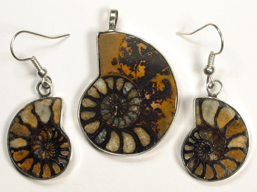 Ammonite pendant and earrings from Morocco 3,4/2,3cm