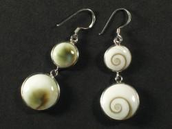 Operculum earring pair double round w/silver Ø1/1,5cm