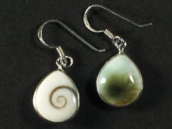 Operculum-Ohrhängerpaar tropfenförmig m/Silber 1,5cm