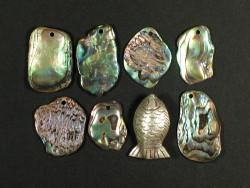 Paua-Stücke 1,5-2,5cm m/Bohrung (4g)