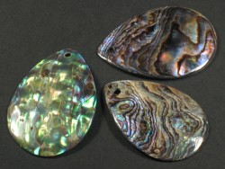 Paua Tear Slices ~4cm w/hole