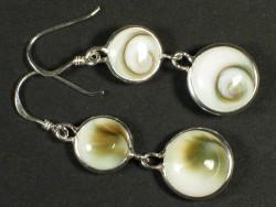 Operculum earring pair double w/silver Ø0,8/1cm