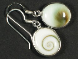 Operculum-Ohrhängerpaar oval m/Silber 1,2cm
