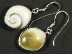 Operculum earring pair eye-shaped w/silver 1,5cm
