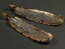 Paua-Anhänger Feder mit Goldrand 7cm
