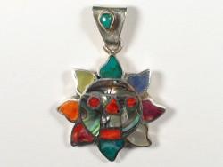 Spondylus pendant *Taita Inti* from Peru 950-silver Ø2,3cm