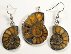 Ammonite pendant and earrings from Morocco 3,0/2,2cm