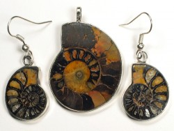 Ammonite pendant and earrings from Morocco 3,5/2,1cm
