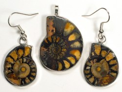 Ammonite pendant and earrings from Morocco 3,1/2,3cm