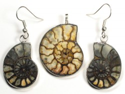 Ammonite pendant and earrings from Morocco 3,0/2,6cm