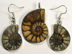 Ammonite pendant and earrings from Morocco 3,4/2,5cm