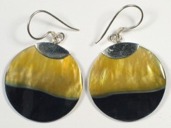 Blacklip-Ohrhängerpaar rund m/Silber Ø2,5cm