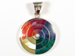 Spondylus pendant from Peru *Pachamama* 950-silver Ø2,5cm