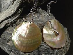 Perlmutt-Ohrhängerpaar rund m/Silber Ø3,7cm