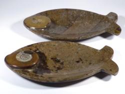 Fossilien-Marmor-Schale mit Ammonit *braun* 14,5cm