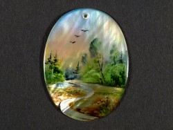 Nacre pendant oval with miniature painting 4cm *unique*