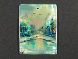 Nacre pendant square with miniature painting 4cm *unique*