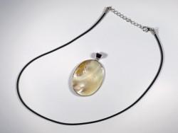 Süßwassermuschel-Anhänger oval mit Perle 4,5cm *Unikat*